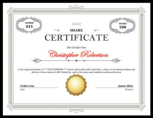 Printable Stock Certificate Free Download