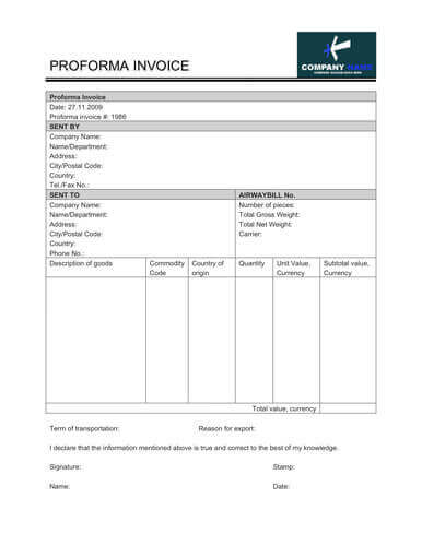 proforma invoice sample word - Towerssconstruction