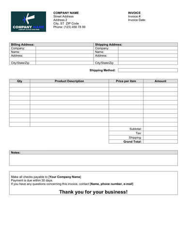 Sales Invoice Templates 27 Examples in Word and Excel - sales invoices