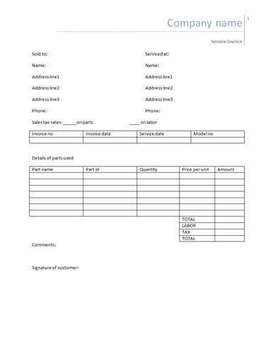 25 Free Service Invoice Templates Billing in Word and Excel - free service invoice