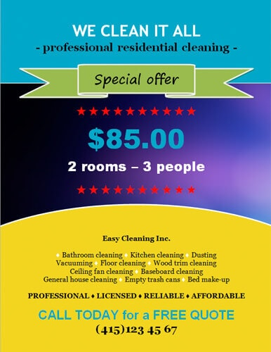14 Free Cleaning Flyer Templates House or Business - house cleaning flyer template