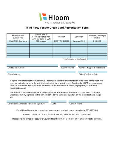 Credit Card Authorization Forms \u2022 Hloom - credit card authorization forms
