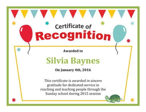 Certificate of Recognition Template - Certificate Of Appreciation Words