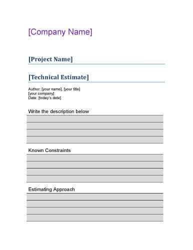 11 Job Estimate Templates and Work Quotes Excel/Word - professional bid template