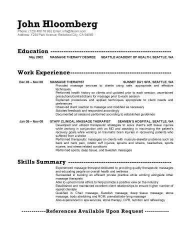 18 Free Massage Therapist Resume Templates - sample massage therapist resume