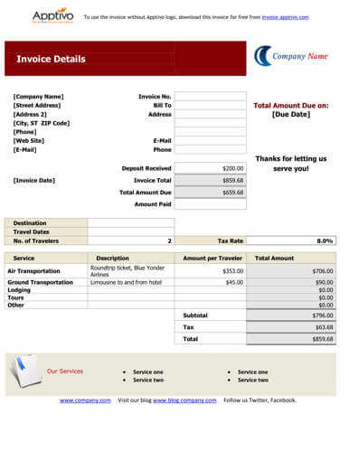 Sales Invoice Templates 27 Examples in Word and Excel - travel quotation sample