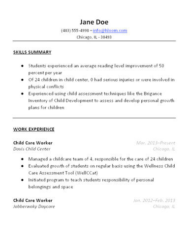 3 Free Baby Sitter Resume Samples in Word - resume with work experience