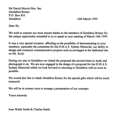 Formal Letter to Rotary Geraldton - March 16th 1999 HMAS Sydney II