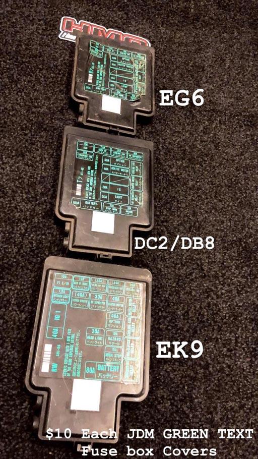 EG6, DC2/DB8, EK9 JDM Green Text Fuse Box Covers \u2013 HMotorsOnline