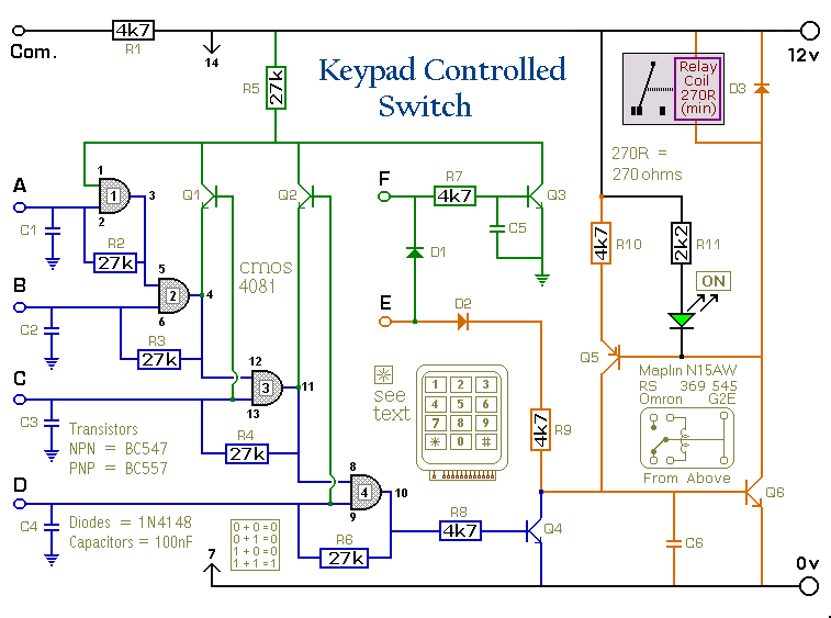 Phase Motor Wiring Diagram A 4 Digit Keypad Controlled Switch Circuit Diagram And