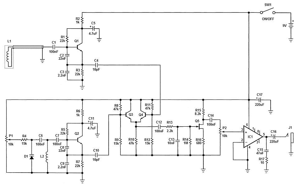 bfo metal detector circuit diagram