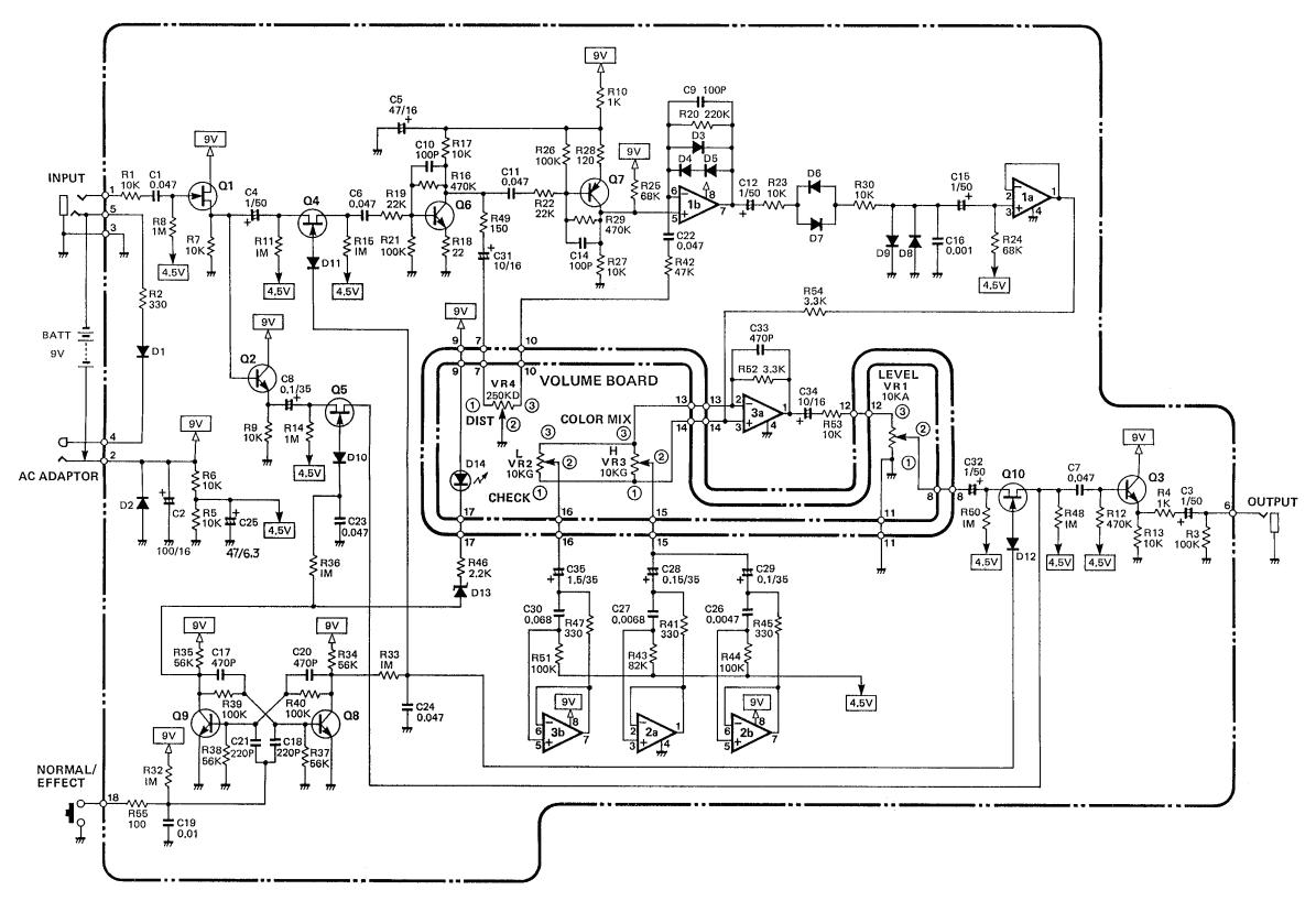 guitar distortion pedal circuit diagram