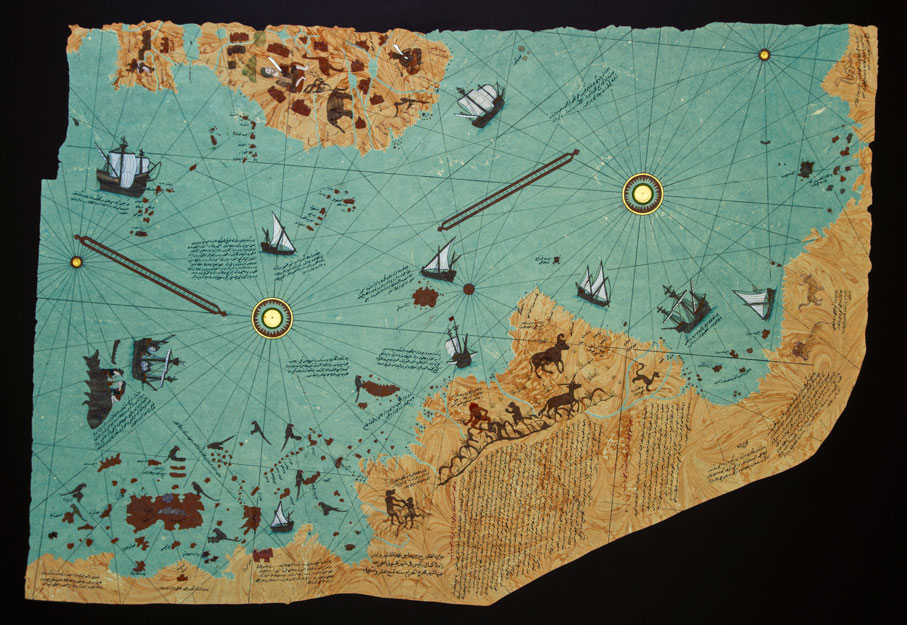 Resimli Ebru, Piri reis, Amerika haritası biçiminde Ebru Eseri - amerika haritasi