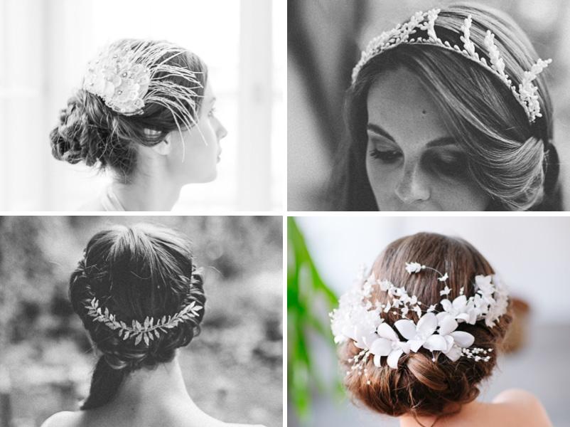 Ideen für Hochsteckfrisuren und offene Haare für Bräute. Mit Haarschmuck von Patricia Vincent (Wien) und Blackbirdspearl bei elfenkleid (München)