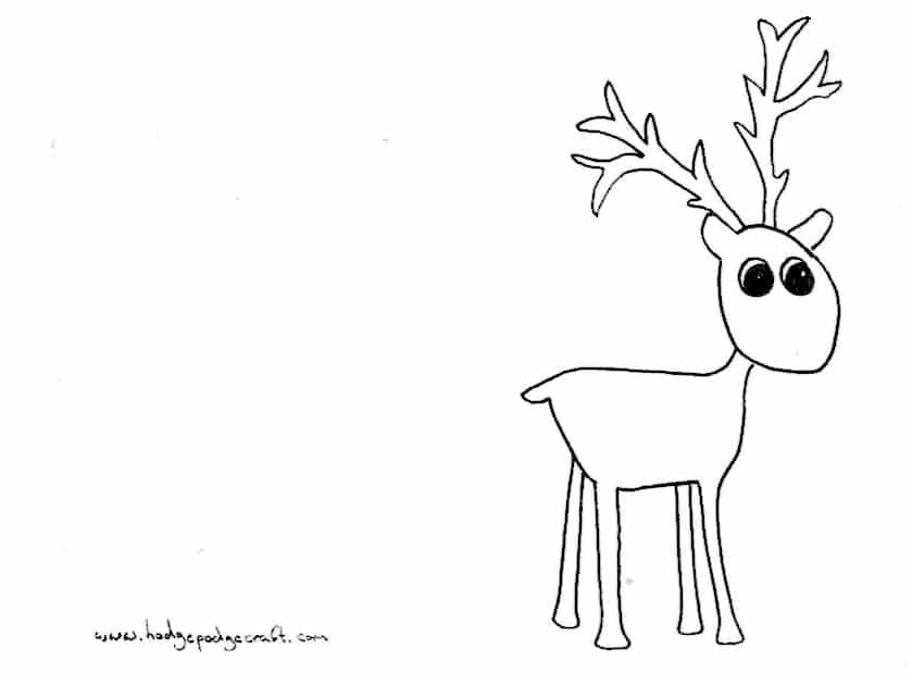 Pompom reindeer Christmas cards (free printable) - christmas card printable