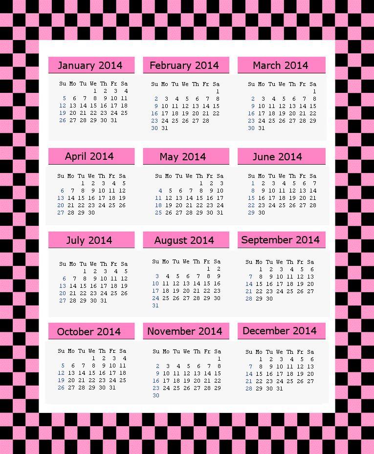 2014 Printable Calendars Holiday Favorites
