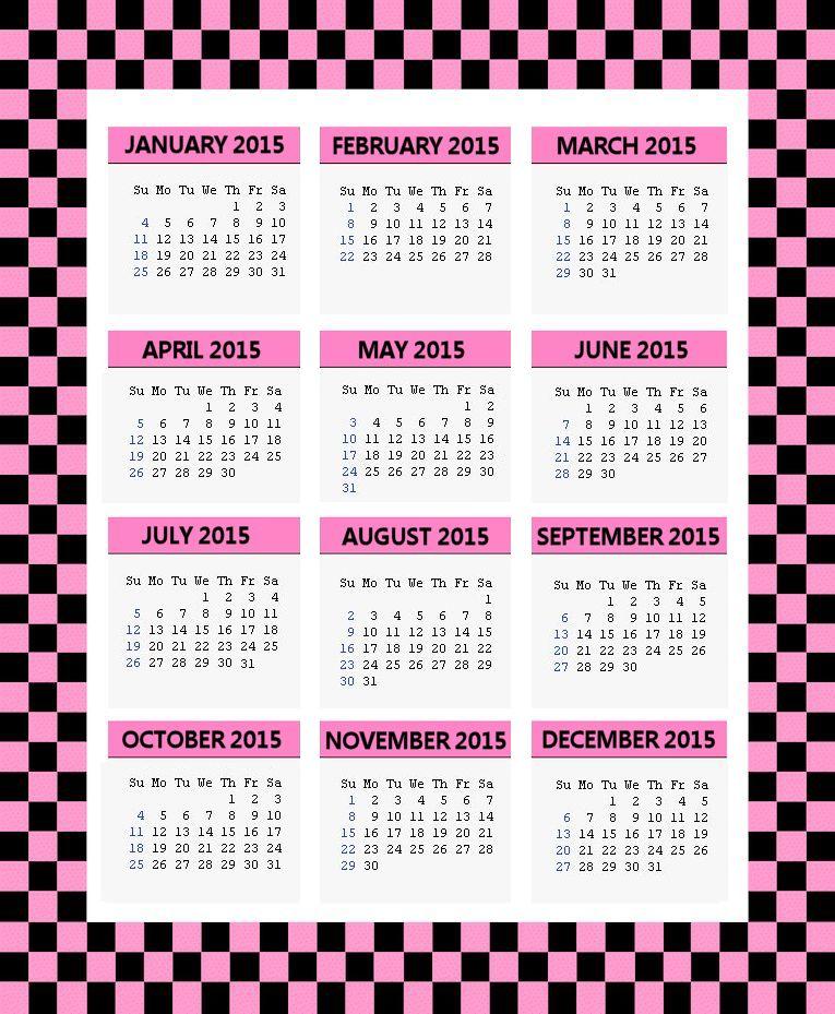 2015 Printable Calendars Holiday Favorites