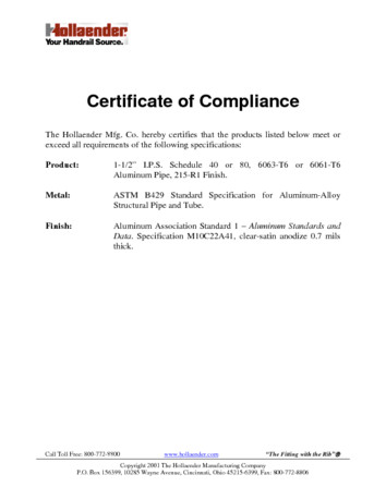 Certificates of Compliance Hollaender Mfg Co - certificate of compliance template