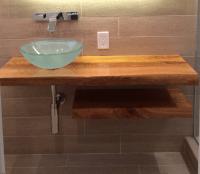 Ash Wood Bathroom Countertop - Holly Waight Designs