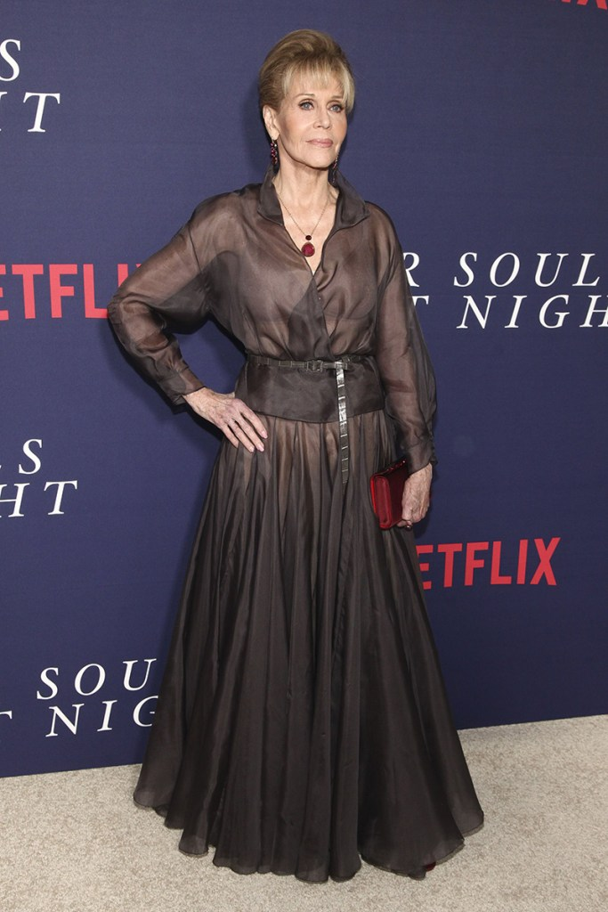 "Mandatory Credit: Photo by Invision/AP/REX/Shutterstock (9088004n) Jane Fonda attends the premiere of Netflix's ""Our Souls at Night"" at the Museum of Modern Art, in New York NY Premiere of Netflix's ""Our Souls At Night"", New York, USA - 27 Sep 2017"