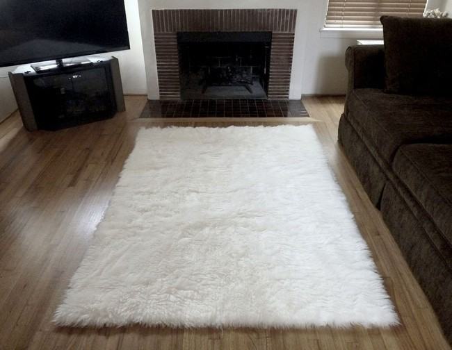 Super Plush White Faux Fur Area Rug From France