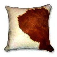 Natural Brown and White Cowhide Decorative Throw Pillow
