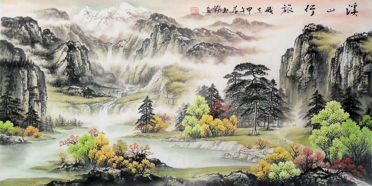Cheap Black And White Wallpaper Chinese Painting Artists Hand Large Landscape Painting