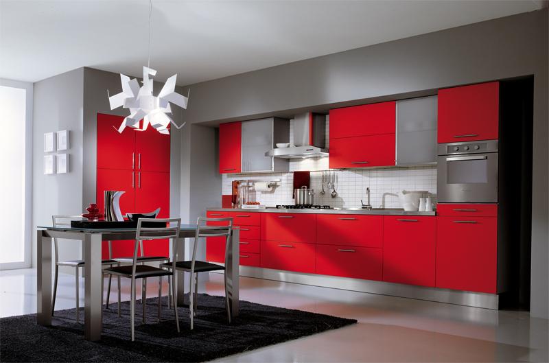 Apartment, Red Kitchen Theme Minimalist Barstool Minimalist Red