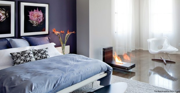 purple white bedroom scheme