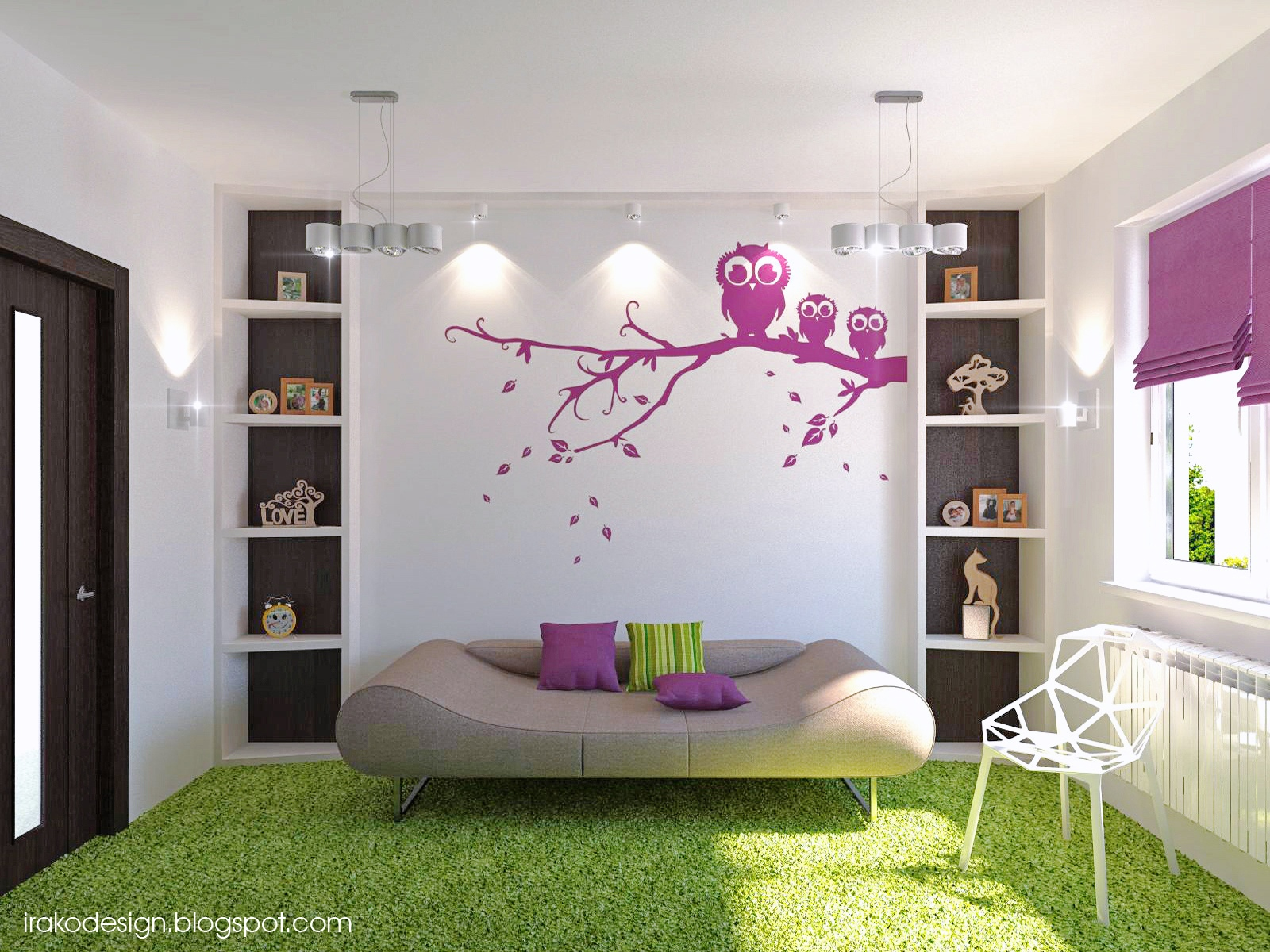 lime green and purple bedroom big data base