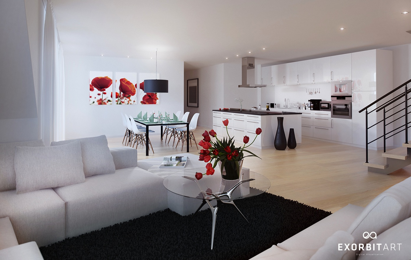 black and white and red living room