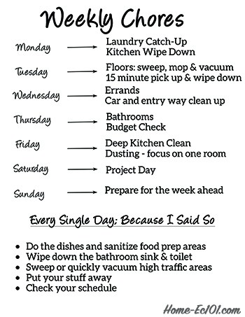 Weekly Chore Schedule - Home Ec 101