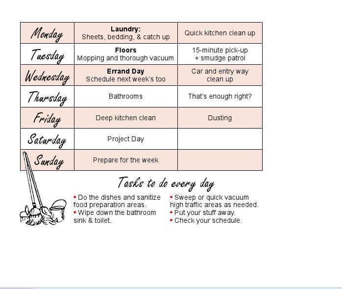 Weekly Chore Schedule - Home Ec 101 - housework schedule