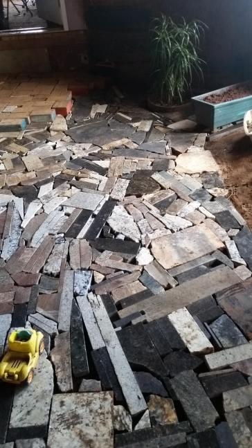 Granite scraps for temporary flooring