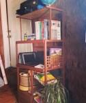 shelf with homeschool books