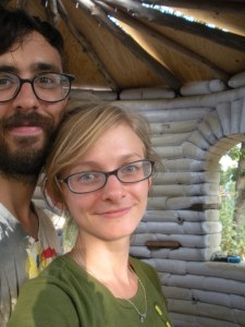 man woman couple build earthbag home