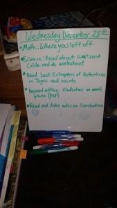 dry erase board checklist 5th grade homeschool