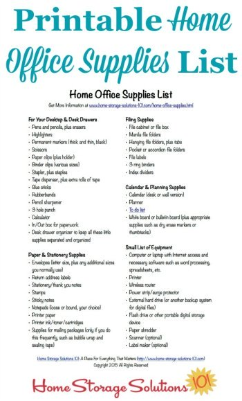 office supplies checklist printable