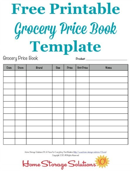 Printable grocery list template - visualbrainsinfo