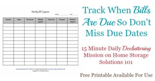 Printable Monthly Bill Organizer To Make Sure You Pay Bills On Time - bill organizer