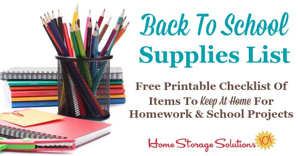 Free Printable Back To School Supplies List What To Stock At Home