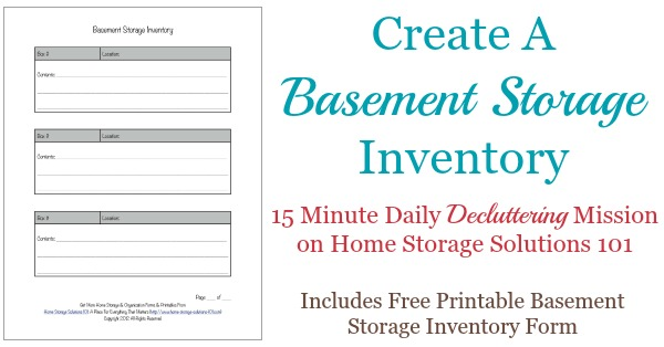 Printable Basement Storage Inventory Form