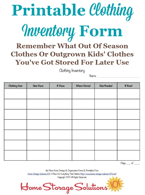 Printable Clothing Inventory Form - inventory sheets printable