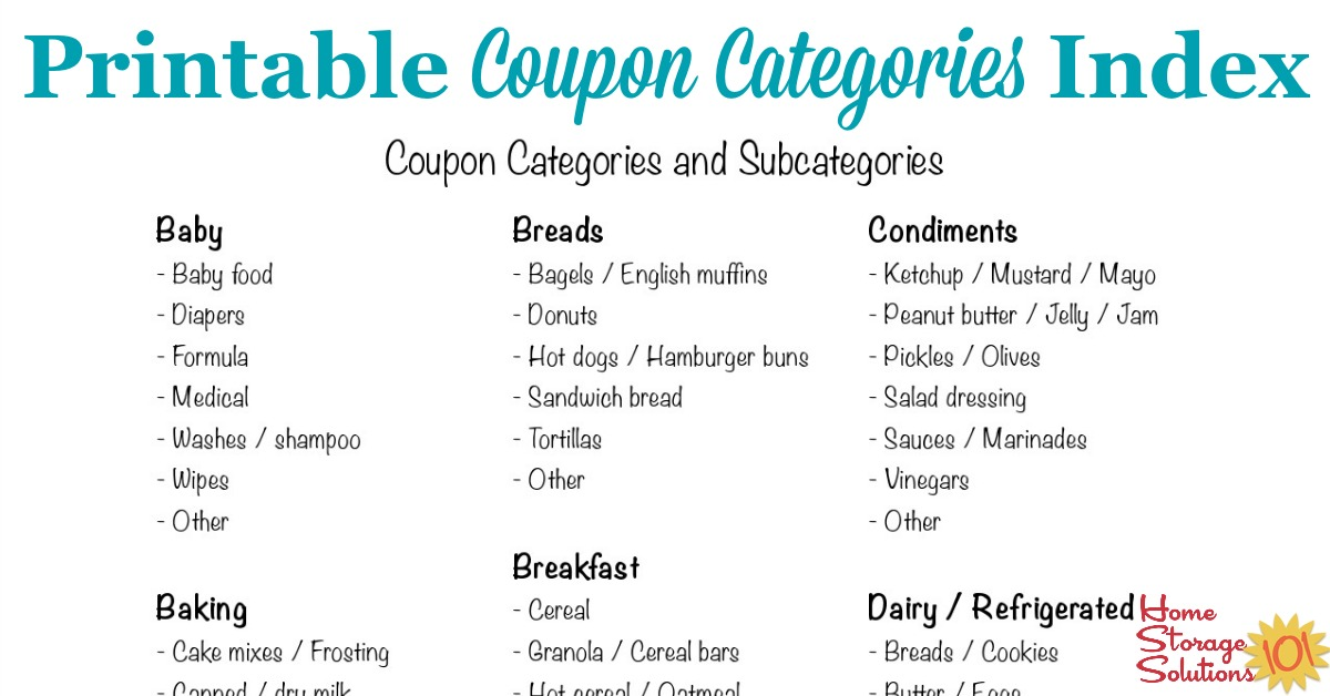 Coupon Categories And Subcategories For Organizing Coupons - printable shopping list with categories