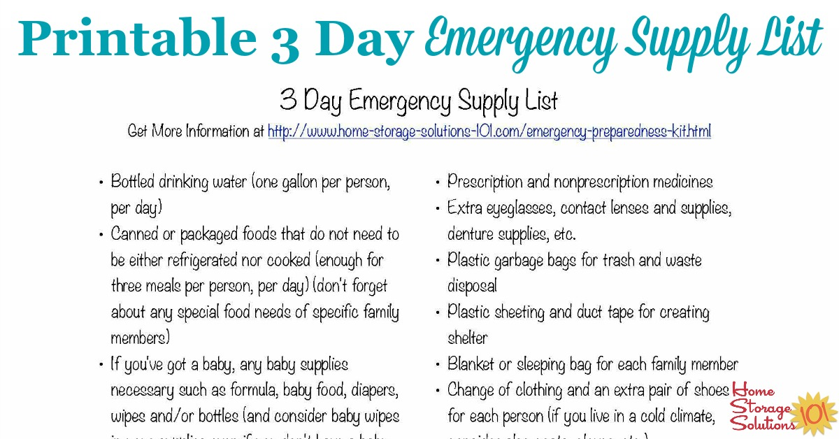 Free Printable 3 Day Emergency Supply List