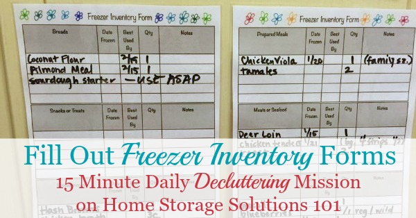 Printable Freezer Inventory Form For Use In Your Home - inventory sheets printable