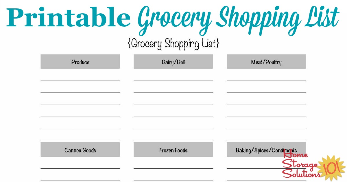 Free Printable Grocery Shopping List Template