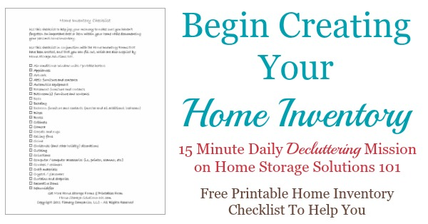 Printable Home Inventory Checklist Make Sure You Don\u0027t Forget Anything