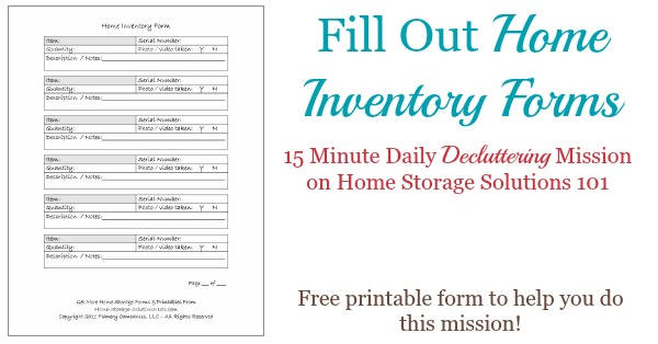 Printable Home Inventory Forms Use These To Create Your Inventory