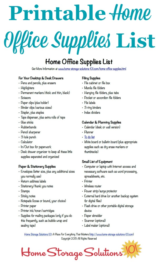 Basic office supply list template - visualbrainsinfo